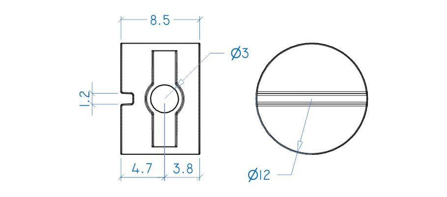 Porca cilíndrica 9x12 mm