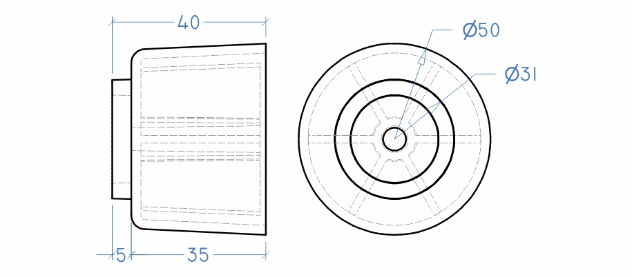 Sapata redonda 40X50 mm