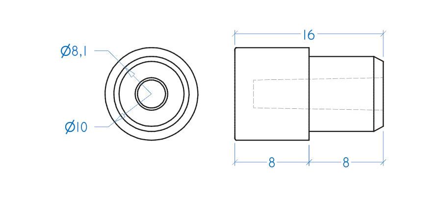 Suporte prateleira - pino 8x10 mm