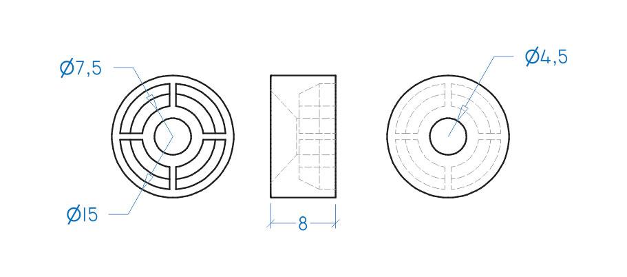 Suporte prateleira 8x15 mm