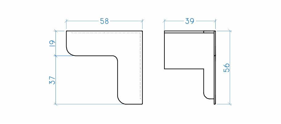 Cantoneira com regulagem 40 mm interna
