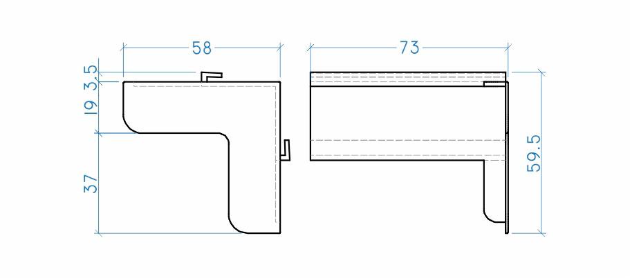 Cantoneira com regulagem 75 mm externa
