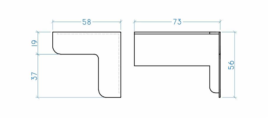 Cantoneira com regulagem 75 mm interna