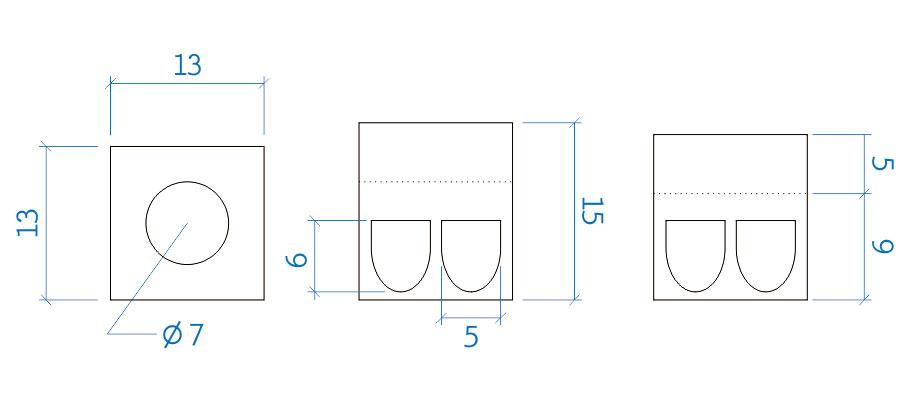 Suporte triangular 14x14 mm