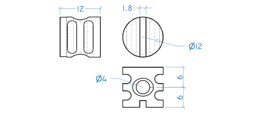 Porca cilíndrica 12x12 mm