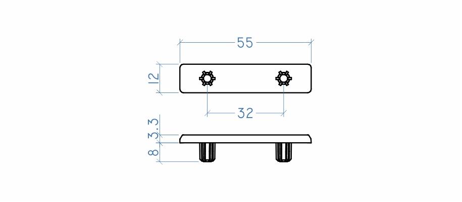 Sapata deslizadora 12x55 mm
