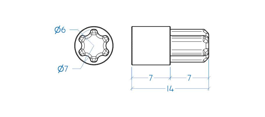 Suporte prateleira - pino 6x8 mm